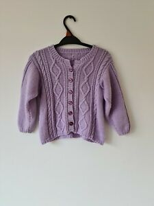 Purple Cable Knit Handmade Cardigan Size 3-4 years