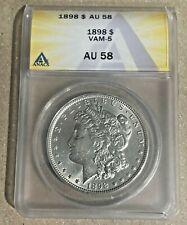 1898-P Nice Philadelphia Minted ANACS AU58 VAM-5 Morgan Silver Dollar