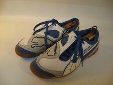 PUMA Indoor Soccer Shoes Men's White Blue Leather - US 8 (EU 40.5)