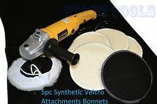 """7"""" VARIABLE 6-SPEED ELECTRIC CAR POLISHER/BUFFER & SANDER W/ 5pc Bonnets"""