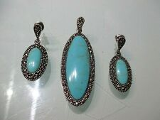 VINTAGE Sterling Silver 925 NF 3 Piece Jewelry Set - Necklace & Earrings
