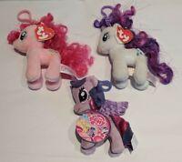 "My Little Pony Plush Clips Lot of 3 Rarity, Pinkie Pie, Twilight Sparkle 5"""