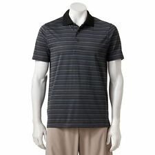 New Grand Slam Men's Slim-Fit Black Striped Performance Golf Polo MSRP $55