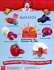 1996 McDonalds Eric Carle Finger Puppets MIP Complete Set of 6, Boys & Girls, 3+