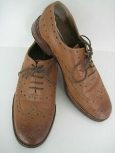 CHAPMAN & MOORE MENS CASUAL LEATHER UPPER SOLE BROGUE NATURAL BROWN SHOES SIZE 9