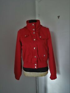Moschino Jeans Italy red jacket with hidden hood GB 10 S M