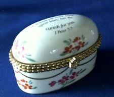 Imperial Porcelain Trinket Box Roses Scripture 1 Peter 5:7 Casting All