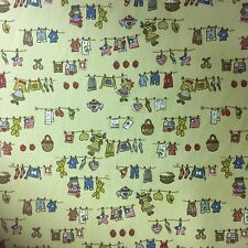 Teddy On Washing Line 100% Cotton Fabric Material BY HALF METRE