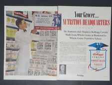 Original Print Ad 1949 KELLOGG'S Nutrition CORN FLAKES ALL-Bran Pep 2 Page