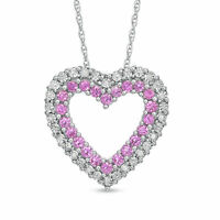 Pink Sapphire and White Topaz Heart Pendant Sterling Silver Necklace with Chain