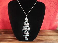 """Southwest Style Arrowhead Design Blue Beads Silver Tone Necklace Pendant 23"""" in"""