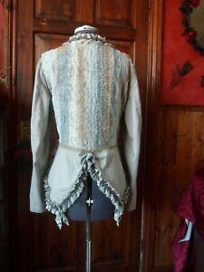 Victorian Inspired, Bohemian Romantic Linen & Lace Ruffle Bustle Jacket Tailcoat