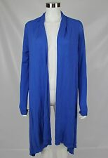 DKNY Womens Size Small Blue Silk Cashmere Blend Open Front Long Duster Cardigan
