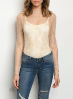 Celebrity | Sheer Lace Long Sleeve Zip Back Nude Bodysuit | NWT Size: S, M, L