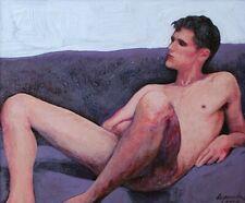 listed artist Original Miniature male frame cute boy Acrylic Painting master gay