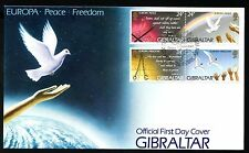 1995 Gibraltar FDC Peace and Freedom  - 2 Horizontal Pairs