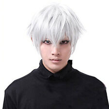 Halloween Tokyo Ghoul Kaneki Ken Short White Cosplay Wigs Straight Hair Costume