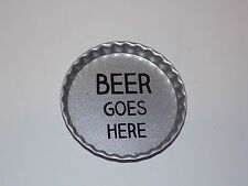 Tin Bottlecap Coasters Beer Goes Here Set of 8 Drinks Man Cave Barware Crafts