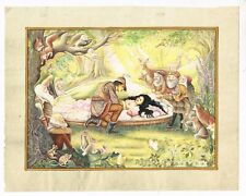Snow White And The Seven Dwarfs Hand Painted Miniature Art & Painting On Paper