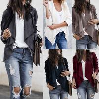 Women Long Sleeve Leather Open Front Short Cardigan Suit Jacket Work Office Coat