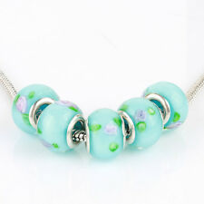 5pcs Blue MURANO silver plated glass bead LAMPWORK For European Charm Bracelet