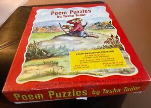 Vintage Poem Puzzles TASHA TUDOR 1968 Platt & Munk 4 Puzzles in box, COMPLETE