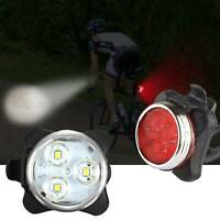 IPX4 Waterproof Bicycle Bike Lights Front Rear LED Light Lamp USB Rechargeablex2