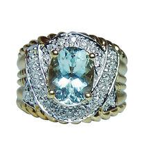 Vintage 18K Gold Aquamarine Diamond Ring Estate