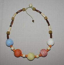 Crochet Covered Ball Wood Beads String Necklace Handcrafted