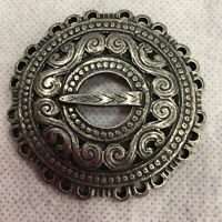 Womens Tinn Per Norway Pewter Brooch Pin Round Buckle Style Scandinavian Style