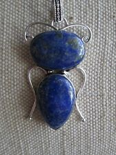 ~ Natural Lapis Lazuli Gemstone Pendant & Silver Plated Chain ~ (pp) ~