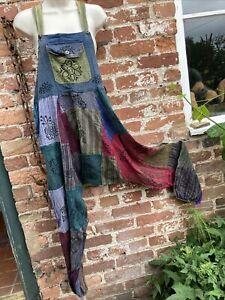 unisex hippie/boho/alternative stonewashed patchwork dungarees Free Size