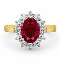 Pave 4.80 Cts Natural Diamonds Ruby Cocktail Ring In Solid Hallmark 14Karat Gold