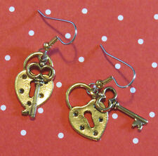Heart Lock & Key Earrings 24 Karat Gold Plate Valentine Love Key to My Heart