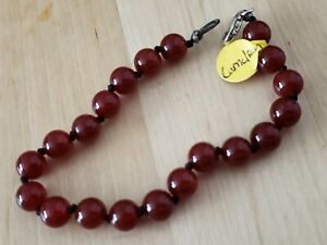"Hand- Made Genuine * CARNELIAN * BRACELET 8"" Long,8mm.Sterling 925 Lock-USA"