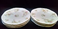 "8 Haviland Pink Roses and Blue Flowers 7 1/4"" Luncheon Plates"