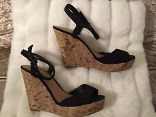 New Look High Wedge Heels Black And Cork Size 7