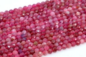 """3-4MM Genuine Natural Pink Tourmaline Beads Brazil AAA Faceted Round Beads 15"""""""