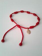 Pulsera roja de nudos con virgen de guadalupe ajustable