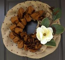 Brown, Green ,  Brown Pearls, Wreath , Burlap, A Perfect GIFT - Magnolia Flower