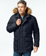 $497 HAWKE & CO NEW Men BLUE HOODED FAUX FUR PARKA WARM WINTER COAT JACKET M