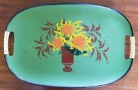 Vintage  green multi color oval floral hand painted lightweight serving tray.