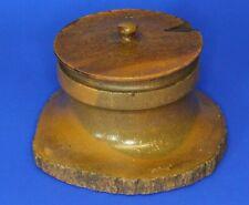 More details for australian mulga wood abo brand treen inkwell /trinket box [21864]