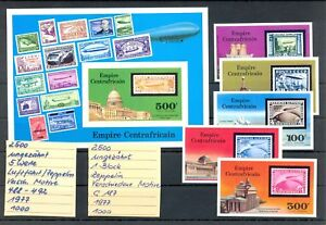 CENTRAFRICAIN 1977 1 BL. --5 x STAMP IMPERFORATED ** MNH VF = ZEPPELIN =
