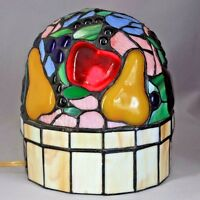"SALE! Vtg 9"" Hand Made STAINED SLAG GLASS TV LAMP Desk Table NIGHT LIGHT FRUIt"