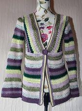 Marks & Spencer Green Brown Stripe Crochet Knitted Long Sleeve Cardigan UK 8 10