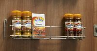 1-2 Tier Kitchen Cupboard Door Deep Spice Rack Polished Chrome Steel Finish
