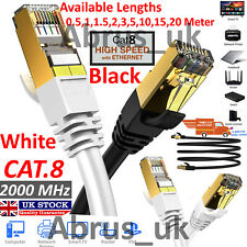 RJ45 Cat8 Ethernet Cable Network Gold Ultra-thin 40Gbps SSTP Patch LAN Lead Lot.