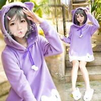 Japan Anime Hentai Ouji To Warawanai Neko Girls Purple Cat Ear Cosplay Hoodie