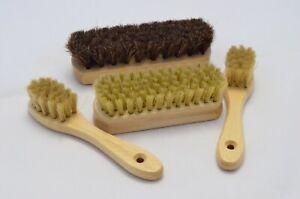 Shoe Care Set of 4 Natural Bristle Brushes. Boot Polishing. Soft Buffing Brush.